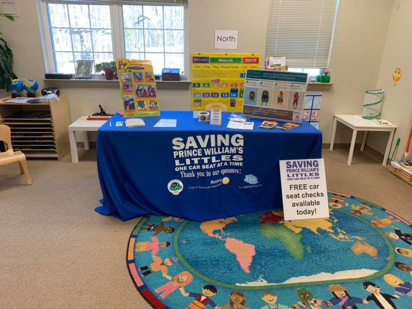At the Montessori school of Gainesville from 10 AM – 12 PM doing free car seat checks. Come find us!