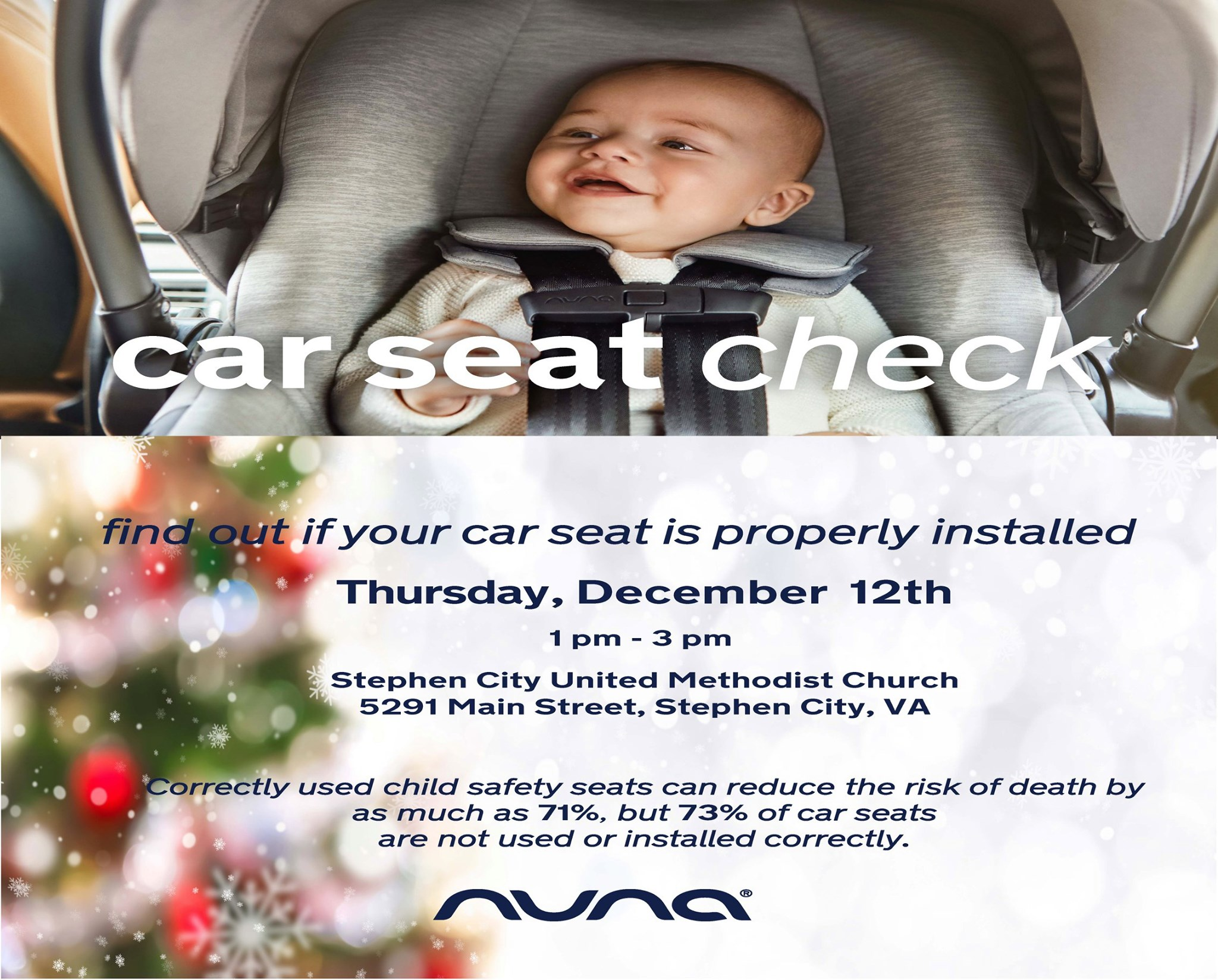 Our friends at Nuna are putting on a free car seat check event on Thursday, December 12th from 1 PM – 3 PM.  Come make sure your children are riding as safely as possible!