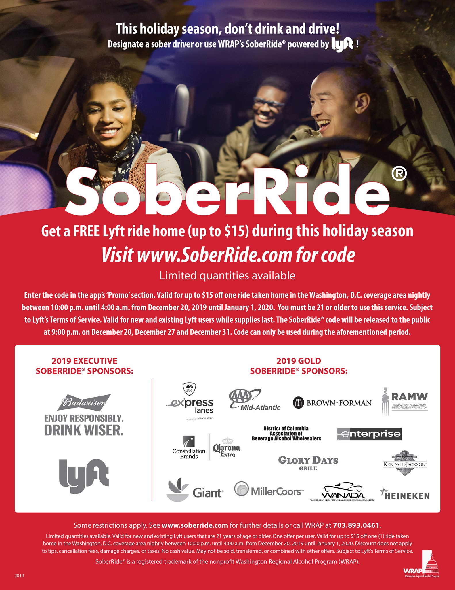 Please don't drink and drive – SoberRide is offering free rides up to $15 on Lyft for New Year's Eve!