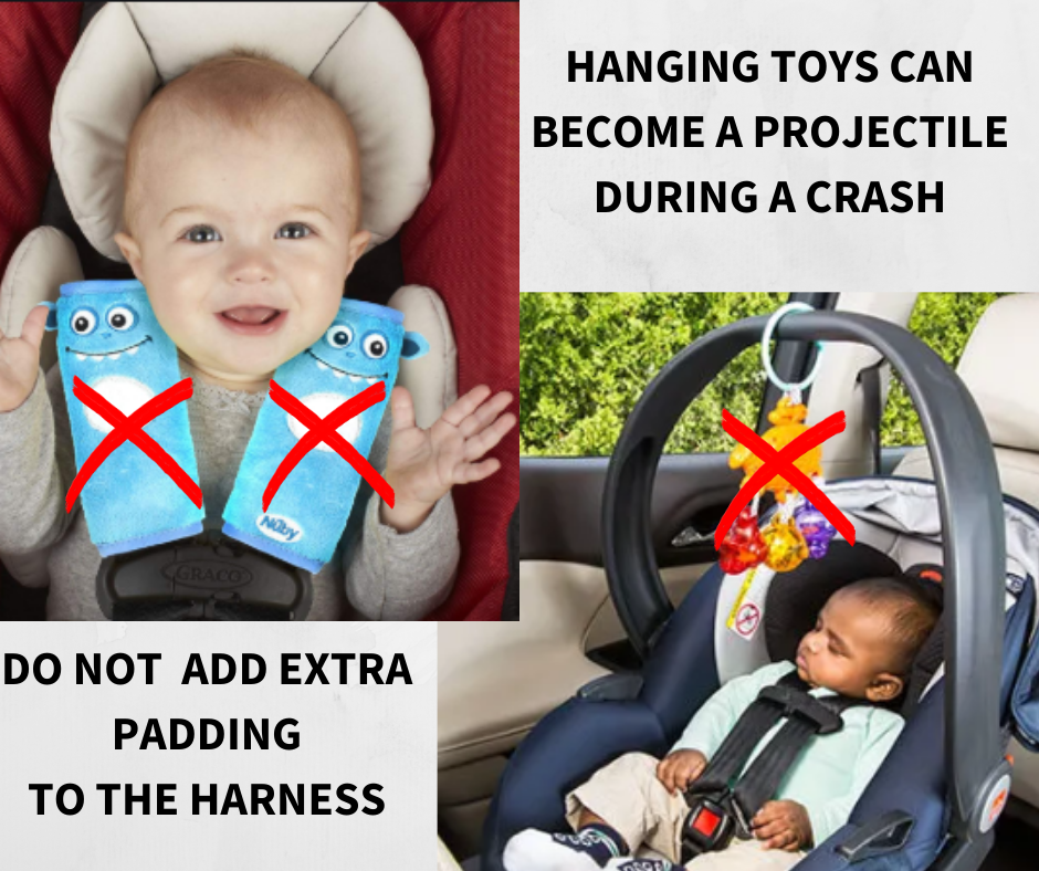 Great reminders – if it didn't come with the car seat, don't use it unless specifically OK'd by your car seat manufacturer!