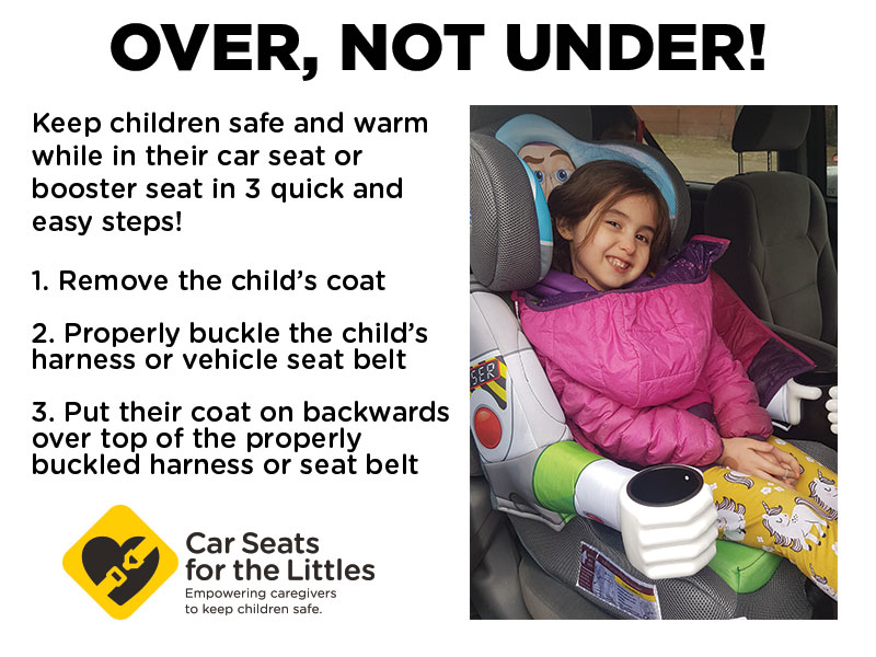 Always a good reminder!  No puffy coats under car seat harnesses or seatbelts – this goes for adults too!