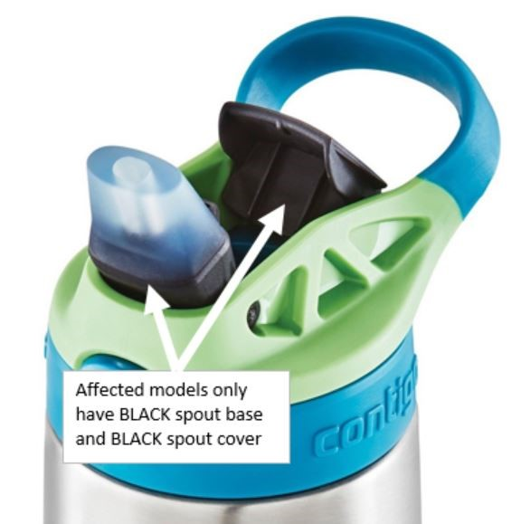 FYI – Additional Contigo kids water bottles recalled today.   Consumers should immediately stop using the recalled water bottles and the replacement lids provided in the previous recall, take them away from children, and contact Contigo for a free water b