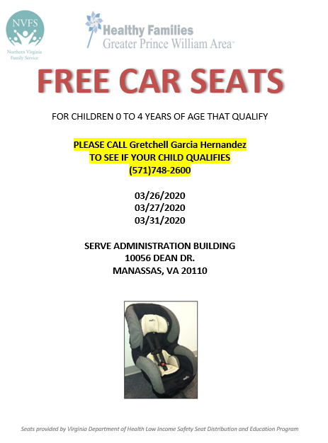 Do you need a car seat?    Saving Prince William's Littles is proud to work with Northern Virginia Family Service.  They are distributing car seats to those who qualify at the end of March at three different events.  Please reach out to them via the infor