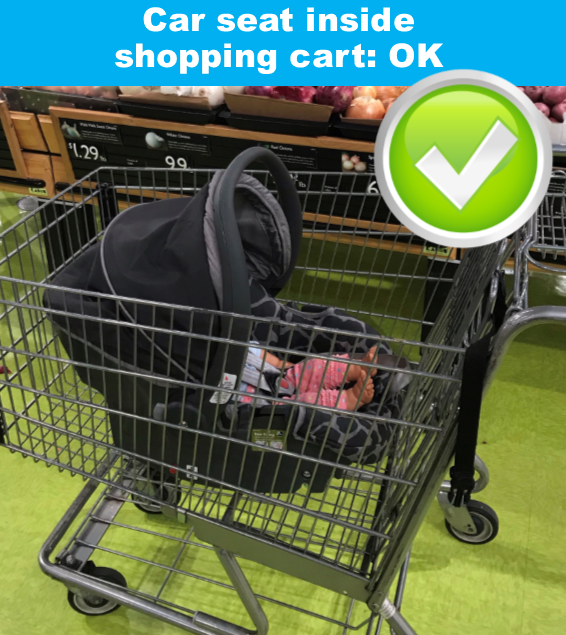 Great reminder – infant seats belong in the basket of shopping carts!
