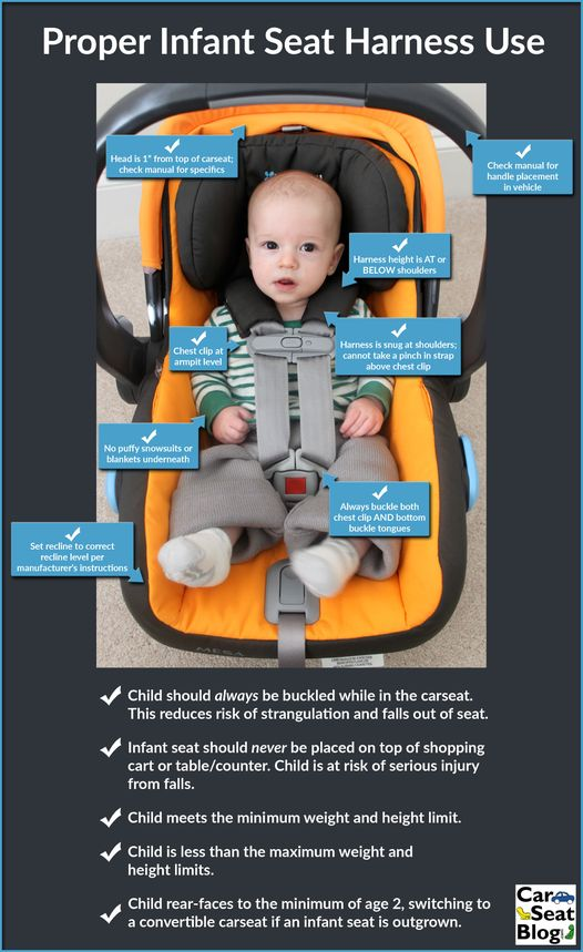 Infant Seat Quick Reference!  Questions?  Let us know!        It's CPS Week! Harness misuse ranks as one of the top misuses we see. Make sure your infant rides safely from the beginning! Share with friends and family!