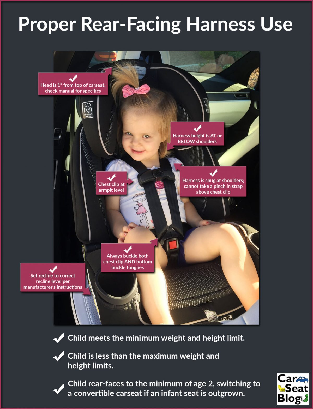Great graphics on how to ensure your children are harnessed correctly rear-facing and forward-facing!         It's National Child Passenger Safety Week! Harness misuse ranks as one of the top car seat mistakes. Make sure your children are always properl…